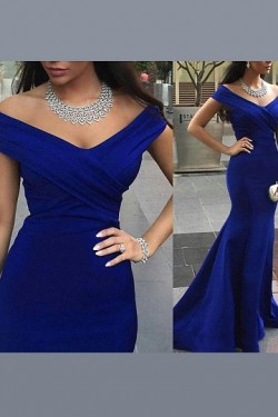 High Quality Short Sleeve Sweep Train Trumpet/Mermaid Natural Prom Dresses – by OKDress UK