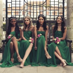 Grün Brautjungfernkleider Lang Günstig Chiffon Bodenlang Abendmoden Kleider Für Brautjungfern