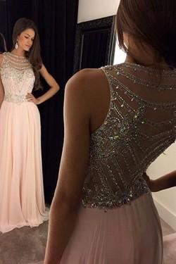Shining A-line Zipper Up at Side Natural Floor-length Prom Dresses – by OKDress UK