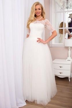 Best Selling Natural Ball Gown Half-Sleeves Scoop Wedding Dresses – by OKDress UK