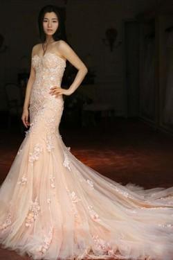 Charmed Natural Tulle Sweetheart Sleeveless Trumpet/Mermaid Wedding Dresses – by OKDress UK