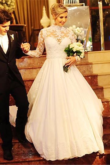 Classy Applique Sweep Train A-line Zipper Long Sleeves Wedding Dresses – by OKDress UK