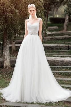 Delicate Ivory Sleeveless Tulle Chapel Train Wedding Dresses – by OKDress UK