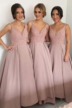 Eatravagant Sleeveless V-neck Sweep Train Sequins Bridesmaid Dresses – by OKDress UK