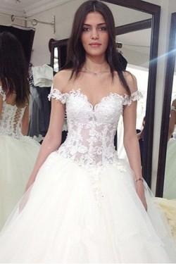 Fabulous Sleeveless Tulle Lace-up Sweep Train Sweetheart Wedding Dresses – by OKDress UK