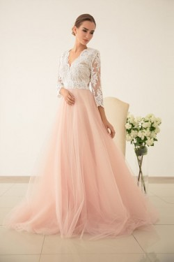 Natural Pearl Pink A-line/Princess Floor-length Scoop Zipper Prom Dresses – by OKDress UK