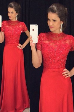Newest High Neck Sheath/Column Short Sleeves Chiffon Appliques Lace Prom Dresses – by OKDr ...