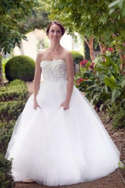 Outstanding Applique Natural Sleeveless A-line/Princess Wedding Dresses – by OKDress UK