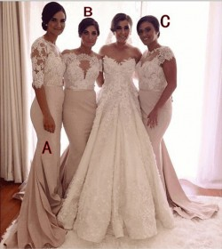 Farbige Brautjungfernkleider Lang Günstig Mit Spitze Meerjungfrau Kleider Für Brautjungfern