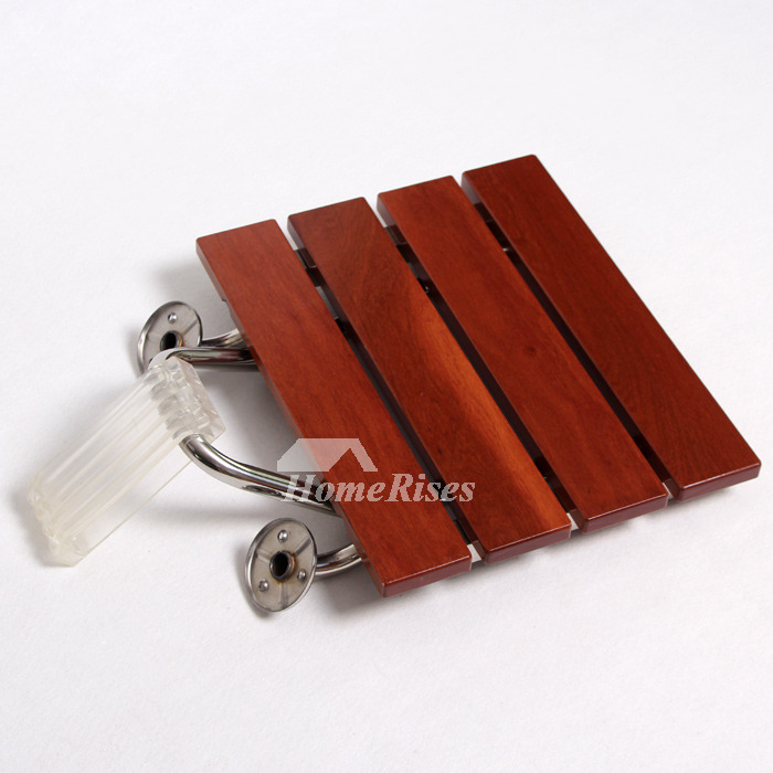 Seat For Shower Wall Mounted Folding Brown Wooden