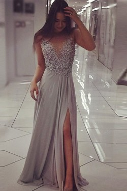 Sequin Scoop Chiffon Silver A-line Floor-length Prom Dresses – by OKDress UK