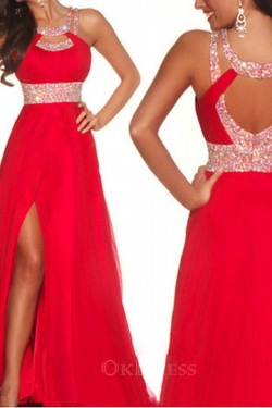 2017 Sexy A Line Scoop Red Long Sequins Chiffon Prom Dresses – by OKDress UK