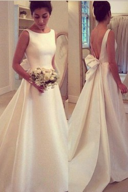 Terrific Sleeveless Backless Satin Wedding Dresses – by OKDress UK