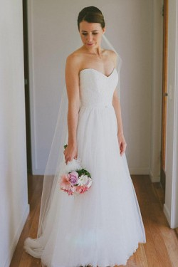 Top Quality Sweep Train Natural A-line/Princess Zipper Wedding Dresses – by OKDress UK