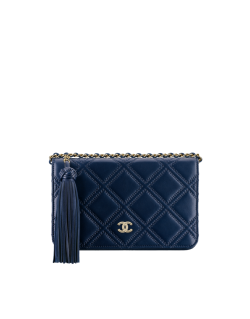 Wallet on chain, lambskin-navy blue – CHANEL