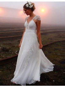 A-Line Chiffon Wedding Dress With Bowknot And Lace