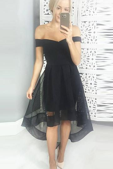 A-line Organza Off The Shoulder Zipper Asymmetrical Prom Dresses – by OKDress UK