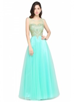 Appliques Sleeveless Zipper Tulle Glamorous A-Line Prom Dress_Cheap Dresses In Stock_Online Wedd ...