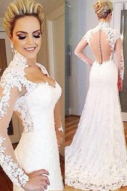 Captivating Trumpet/Mermaid Sweep Train Pink Zipper Wedding Dresses – by OKDress UK