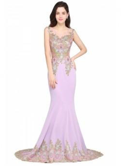 Court-Train Appliques Sleeveless Mermaid Glamorous Prom Dresses – Ameliedresses
