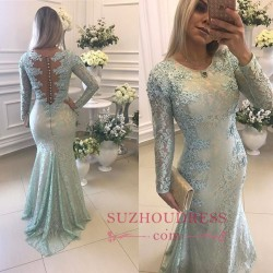 2018 Elegant Lace Long Sleeves Prom Dresses Mermaid Buttons Evening Gowns_Prom Dresses_2017 Spec ...