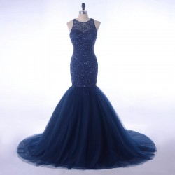 Elegant Navy Blue Rhinestone Beading Top Tulle Mermaid Evening Prom Dress 2018 [PS1708] –  ...