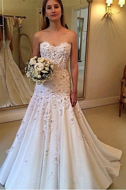 Eye-Catching Appliqued Natural Sweetheart Lace up Wedding Dresses – by OKDress UK