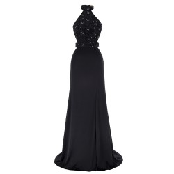 Fashion High Halter Neck Beaded Lace Appliques Black Prom Evening Dress [ES1706] – $136.99 :