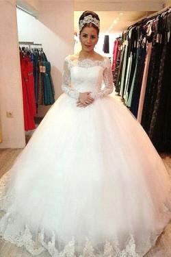 Great Sweep Train Zipper Off The Shoulder Ivory Wedding Dresses – by OKDress UK
