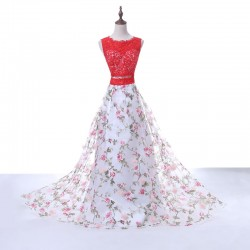 Hot Sale Red Lace Scoop Neck Keyhole Back Floral Printed Two Piece Prom Dress 2017 [PS1702] &#82 ...
