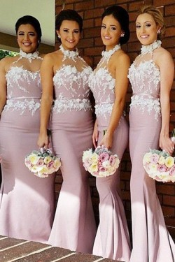 Lace Floor-length Trumpet/Mermaid Halter Bridesmaid Dresses – by OKDress South Africa