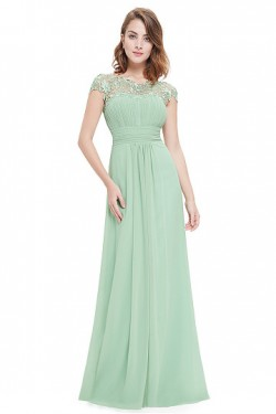 Mint Chiffon Floor-length Sleeveless Natural Prom Dresses – by OKDress UK