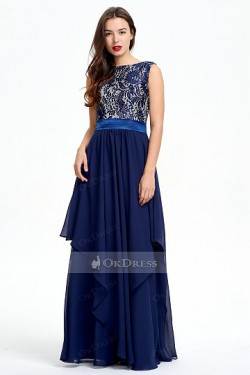 Natural Floor-length Zipper Sleeveless Dark Navy A-line Evening Dresses – by OKDress South ...