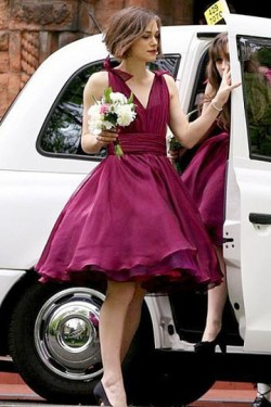 None Short V-neck Sleeveless Bow Tie Burgundy Bridesmaid Dresses – by OKDress South Africa