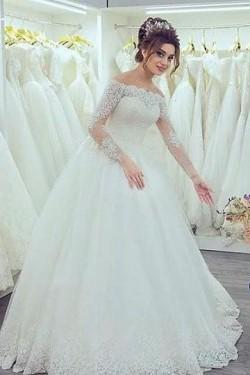 Remarkable Long Sleeves A-line Off The Shoulder Wedding Dresses – by OKDress UK
