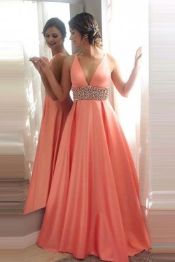 Satin Pink Floor-length V-neck Natural Zipper Prom Dresses – by OKDress UK