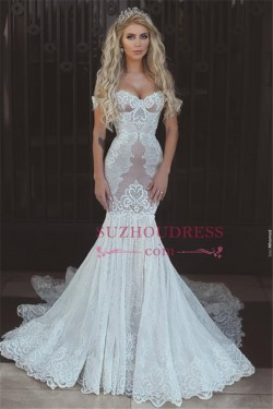 Sexy Mermaid Lace Off-the-Shoulder Wedding Dresses 2018 Open Back Bridal Gowns_Trumpet/ Mermaid  ...