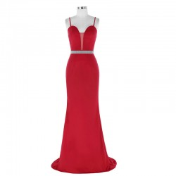 Sexy Spaghetti Straps Sweetheart Sheer Insert Red Evening Dresses With Beaded Belt [ES1708] R ...