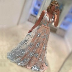 Sleeveless Appliques 2018 Prom Dresses Baby Pink Blue Flowers Illusion Formal Evening Dress