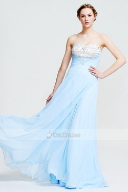 Sleeveless Chiffon Embroidery Sweetheart Zipper Sky Blue Prom Dresses – by OKDress South A ...