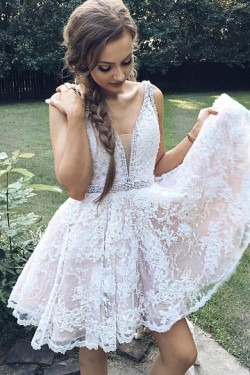 Sleeveless V-neck Ivory A-line Short/Mini Zipper Prom Dresses – by OKDress UK
