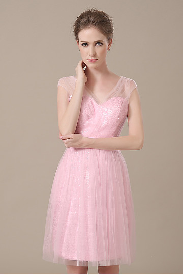 Sleeveless Zipper A-Line Knee-length V-neck Ice Pink Bridesmaid Dresses – by OKDress South ...