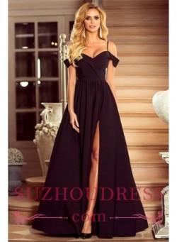 Spaghetti Straps Black Formal Dresses Cheap 2018 Sexy Split Long Evening Gown_Evening Dresses_20 ...