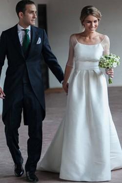 Stylish Scoop Zipper A-line Wedding Dresses – by OKDress UK