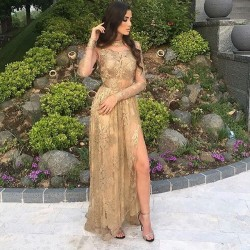 Tulle Appliques Sexy Long-Sleeves Side-Slit High-Neck Gold Prom Dresses_Prom Dresses 2018_Prom D ...