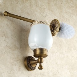 Golden Antique Brass Toilet Brush Holder