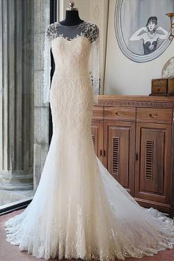 White Lace Natural Trumpet/Mermaid Long Sleeves Wedding Dresses – by OKDress UK
