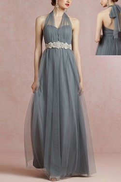 Zipper Sleeveless Pleated Tulle Halter Bridesmaid Dresses – by OKDress South Africa