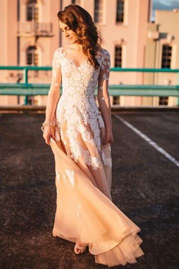 Zipper V-neck Tulle Champagne Floor-length A-line/Princess Prom Dresses – by OKDress UK