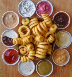 Curly fries with dipping sauces